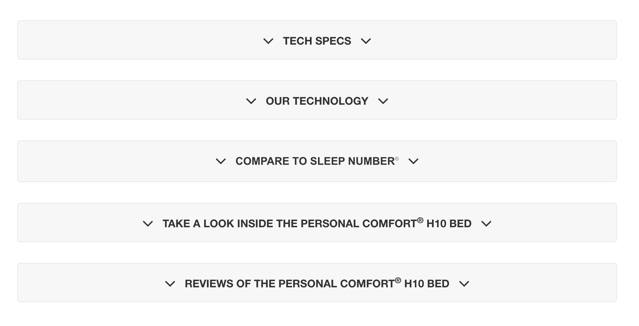 Personal Comfort's product pages have expandable menus
